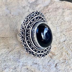 NEW black onyx intricate ring